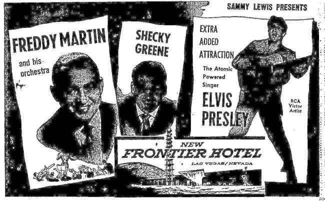 Anuncio del Review-Journal para el debut de Elvis Presley en Las Vegas