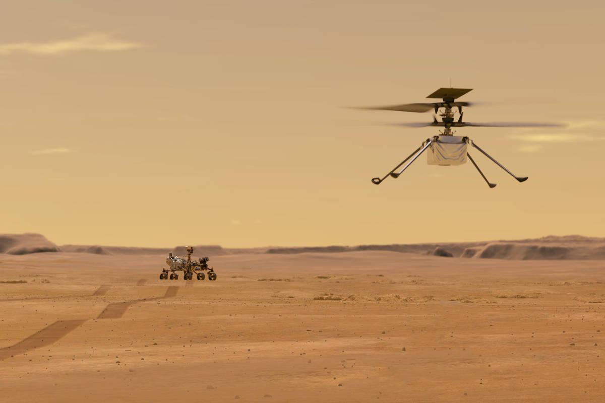 Esta ilustración facilitada por la NASA muestra el helicóptero Ingenuity en Marte tras su lan ...