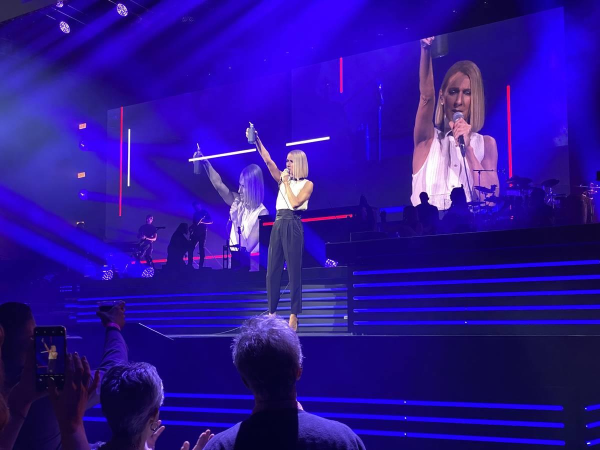 Celine Dion se presenta en Bridgestone Arena de Nashville el lunes, 13 de enero de 2020. (John ...