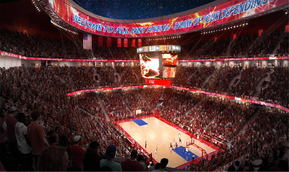 Render del estadio que el ex jugador de la NBA, Jackie Robinson, quiere construir al norte del ...