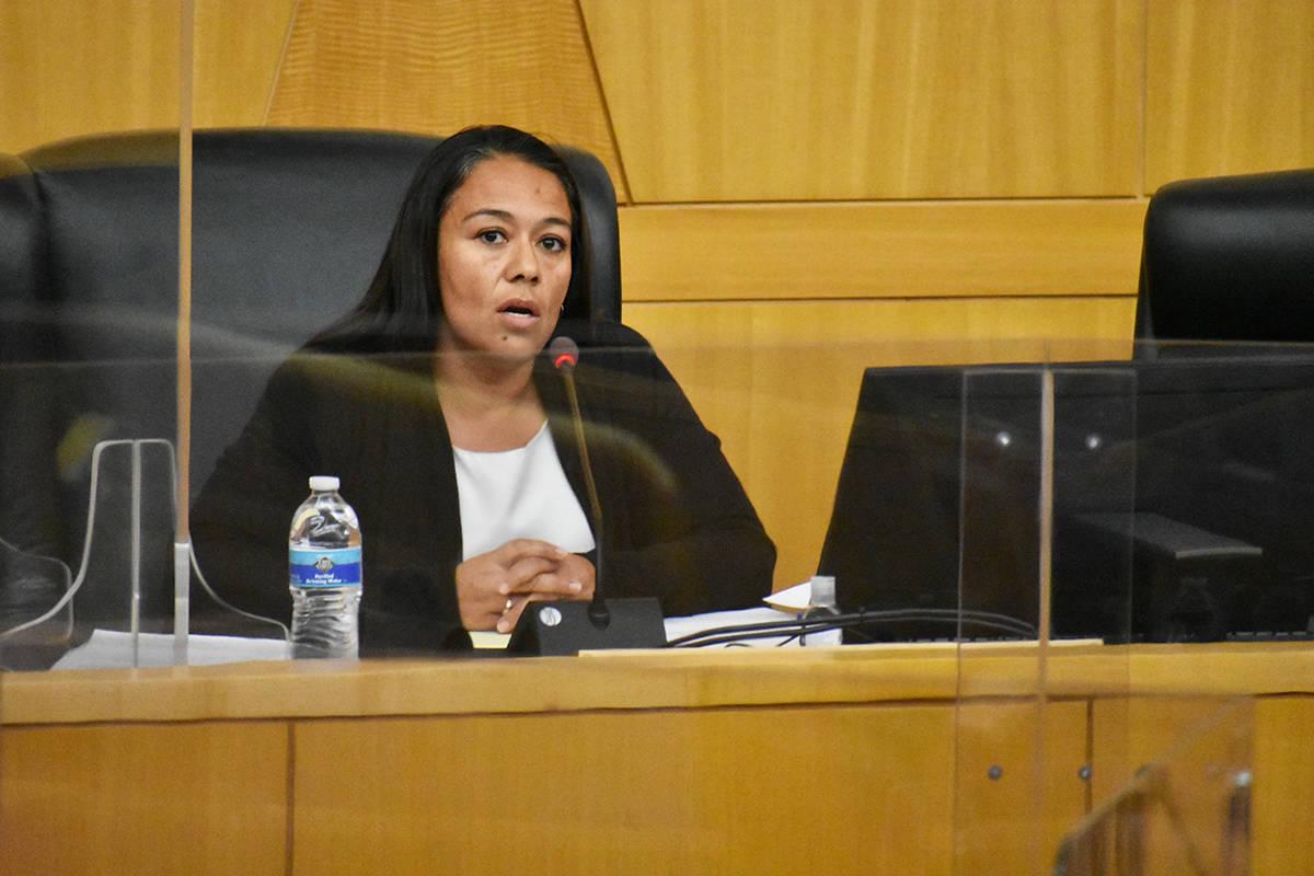 La abogada de la Oficina de Defensores Públicos del Condado Clark, Marla Rentería, habla dura ...