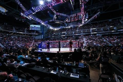 Los aficionados esperan la próxima pelea durante un evento de artes marciales mixtas de UFC 26 ...