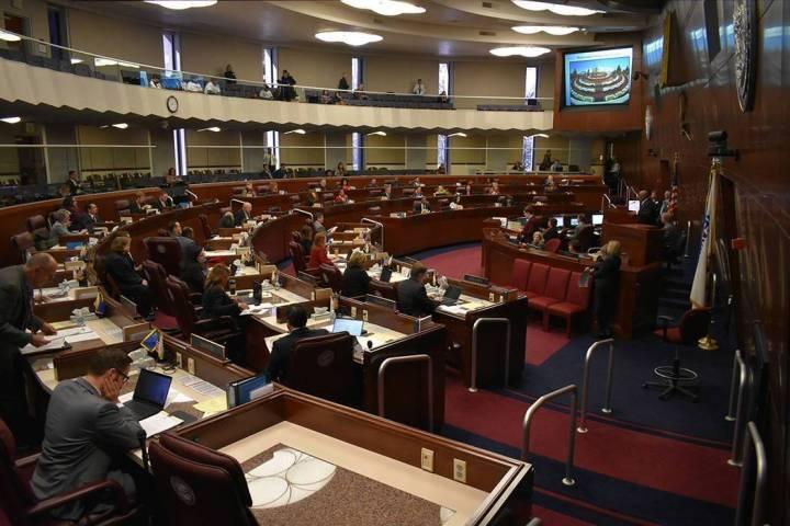 Fotografía de archivo de la Asamblea de Nevada durante una sesión ordinaria. Lunes 18 de febr ...