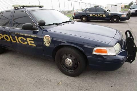 Coches de policía del Distrito Escolar del Condado Clark. (Las Vegas Review-Journal)