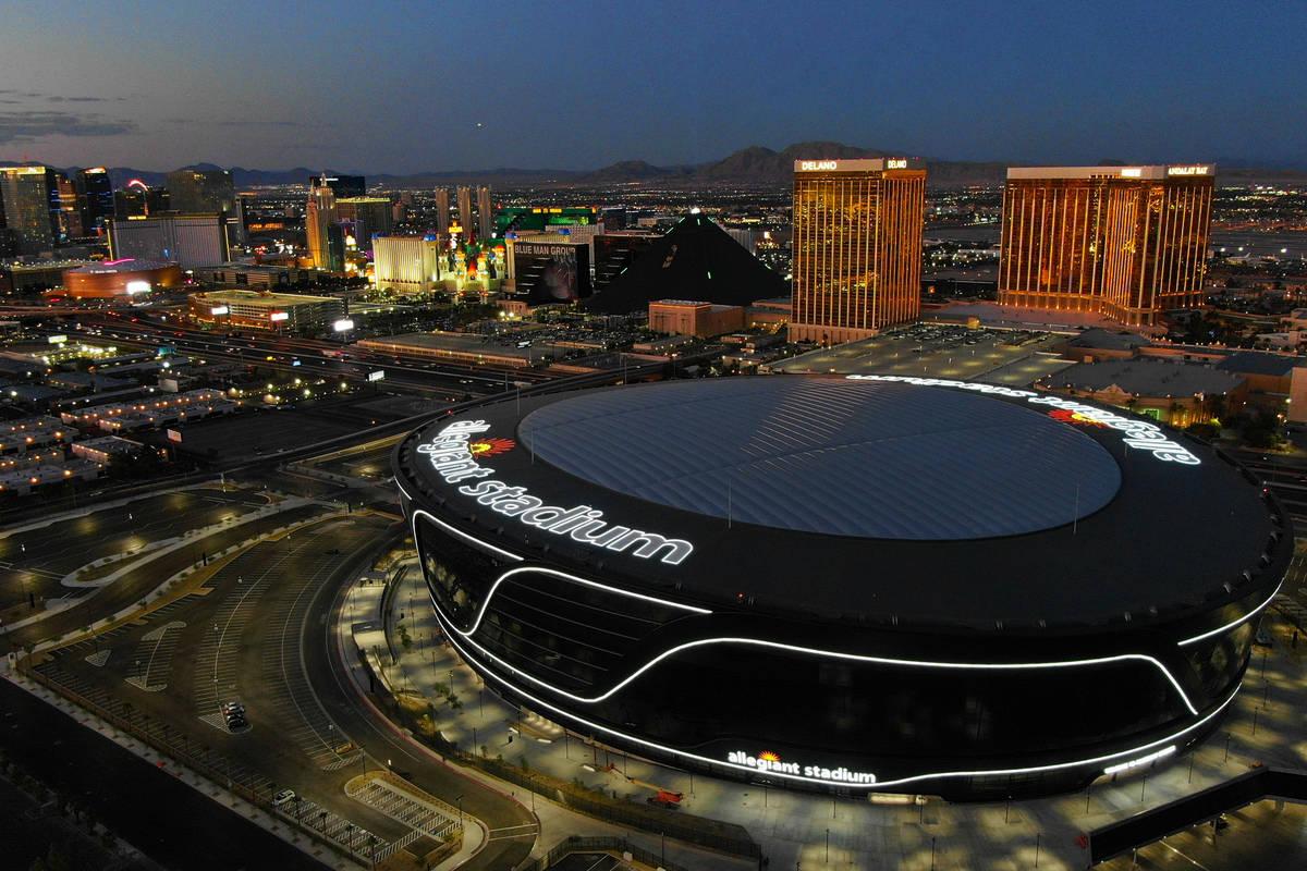 Vista aérea del Allegiant Stadium el viernes, 31 de julio de 2020 en Las Vegas. (Michael Quine ...