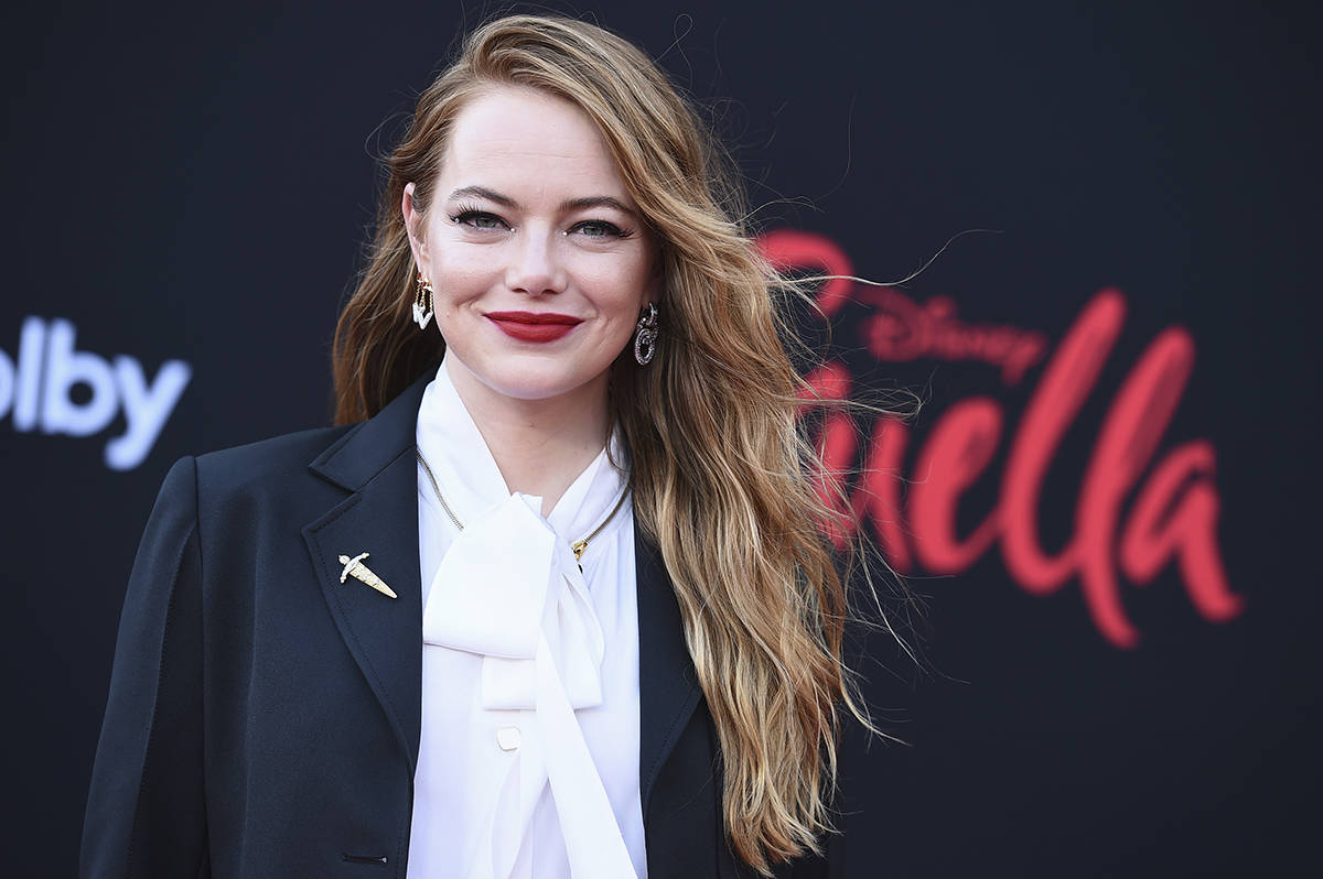 """Emma Stone llega al estreno de """"Cruella"""" en el Teatro El Capitán el martes 18 de mayo de 2 ..."""