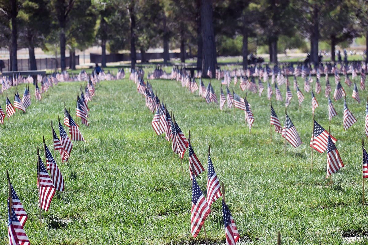 Las pequeñas banderas ondearon con el viento en las lápidas de los soldados caídos, el domin ...