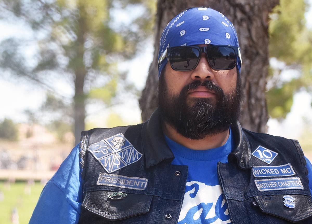 """Presidente del grupo de motociclistas latinos """"Wicked MC SO. Nevada, el domingo 30 de mayo de ..."""