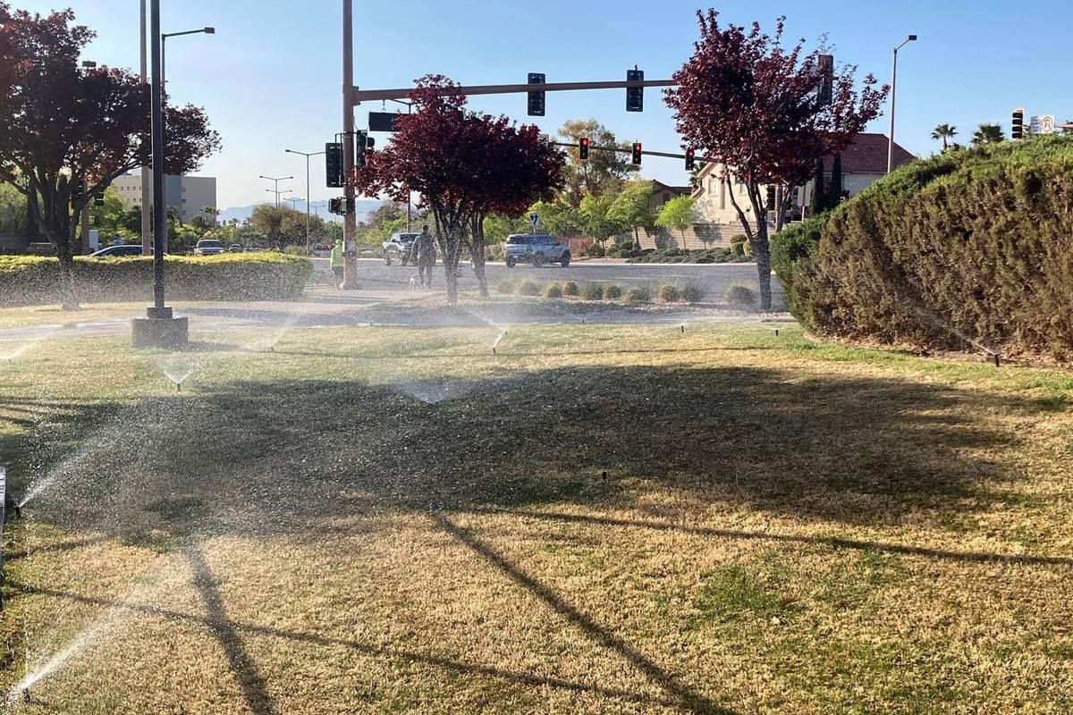 Aspersores riegan el césped cerca de la esquina de una calle en Summerlin, al noroeste de Las ...