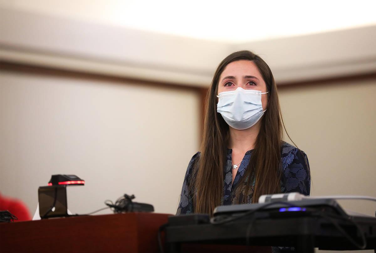 Sarah Woolsey, hija de la víctima Tom Trauger, que murió a manos de Jordan Barson cuando este ...