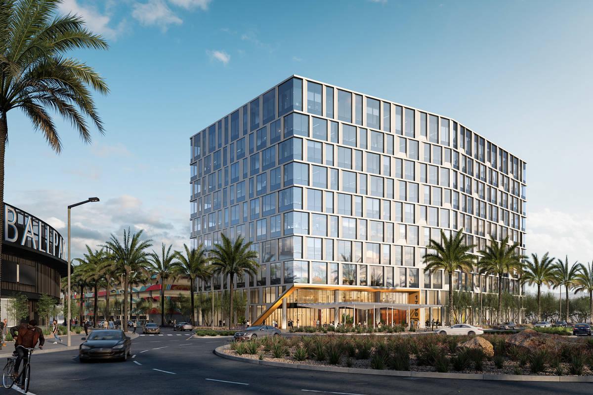 El promotor de Summerlin, Howard Hughes Corp., puso la primera piedra de un edificio de oficina ...