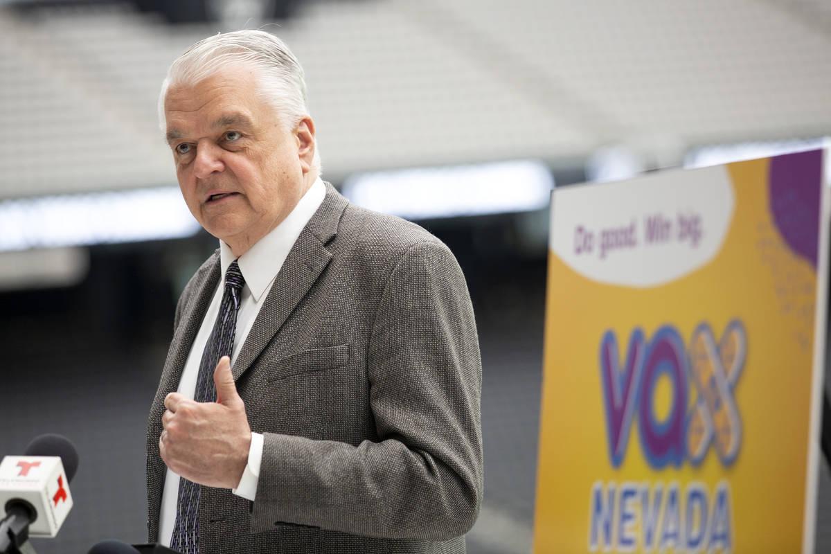 """El gobernador Steve Sisolak anuncia un programa de incentivos para la vacuna contra COVID-19, """" ..."""