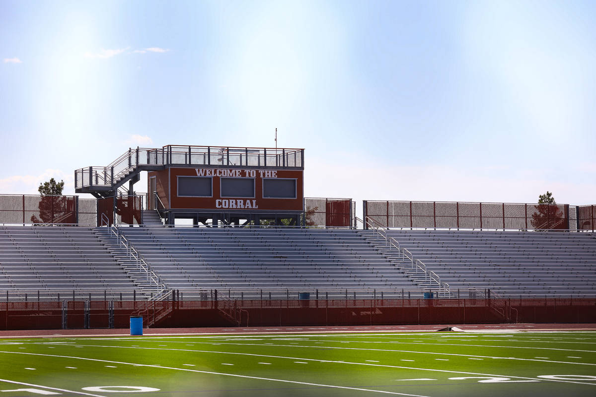 El campo de fútbol de Legacy High School en North Las Vegas el miércoles 30 de junio de 2021. ...