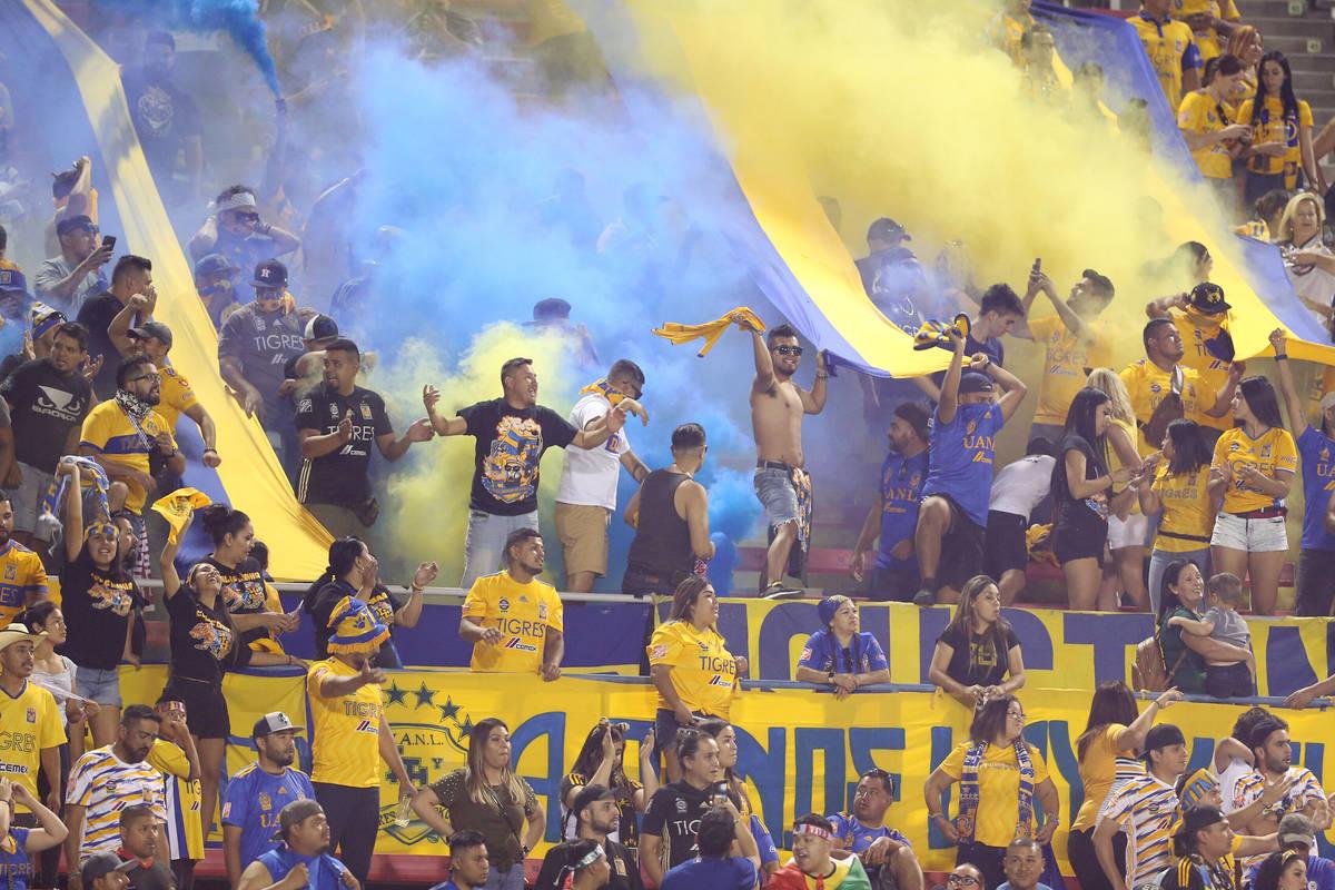 Fans celebran un gol de Tigres contra Cruz Azul durante el segundo tiempo del partido de la Lea ...