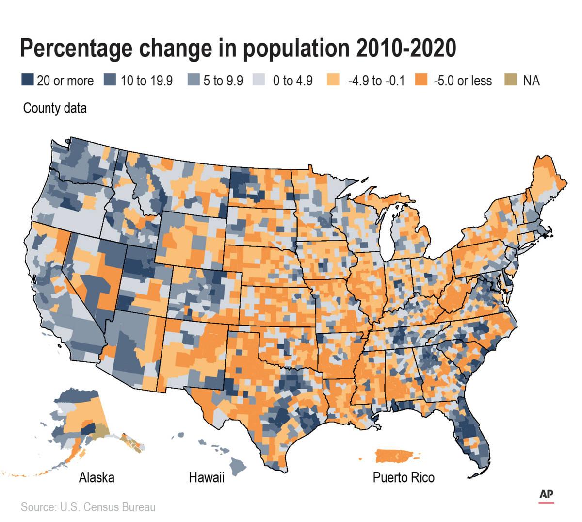 Un mapa de los condados de Estados Unidos y Puerto Rico muestra el cambio porcentual de la pobl ...