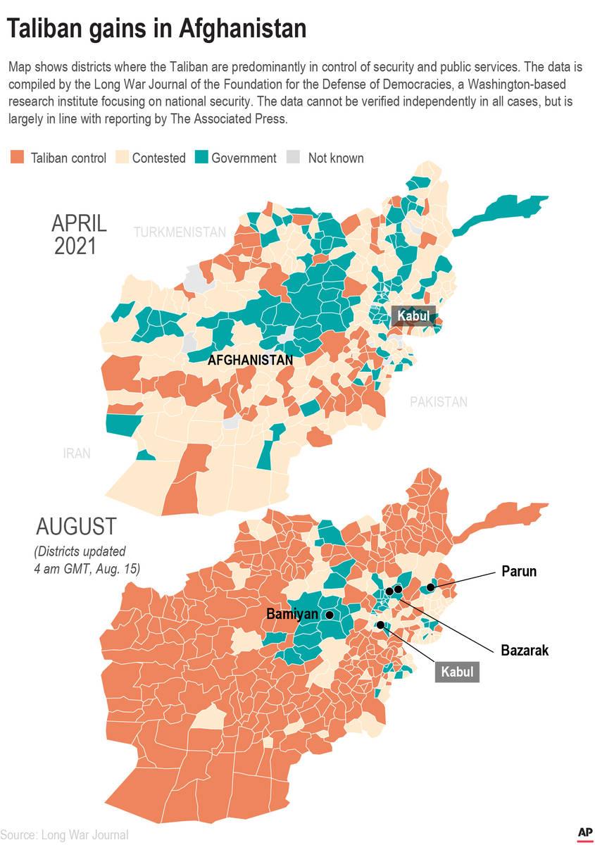 El mapa muestra las zonas controladas por los talibanes.