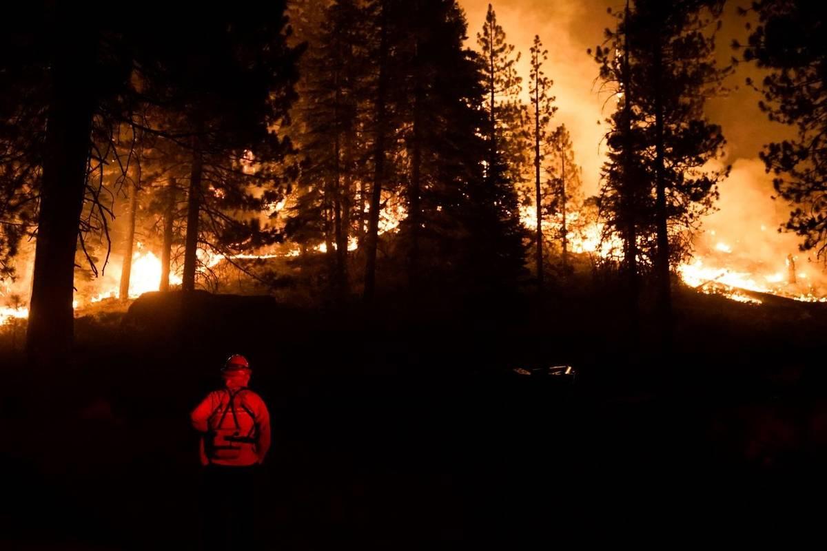 """Un bombero supervisa el """"Caldor Fire"""" que arde cerca de las estructuras en South Lake Tahoe, Ca ..."""