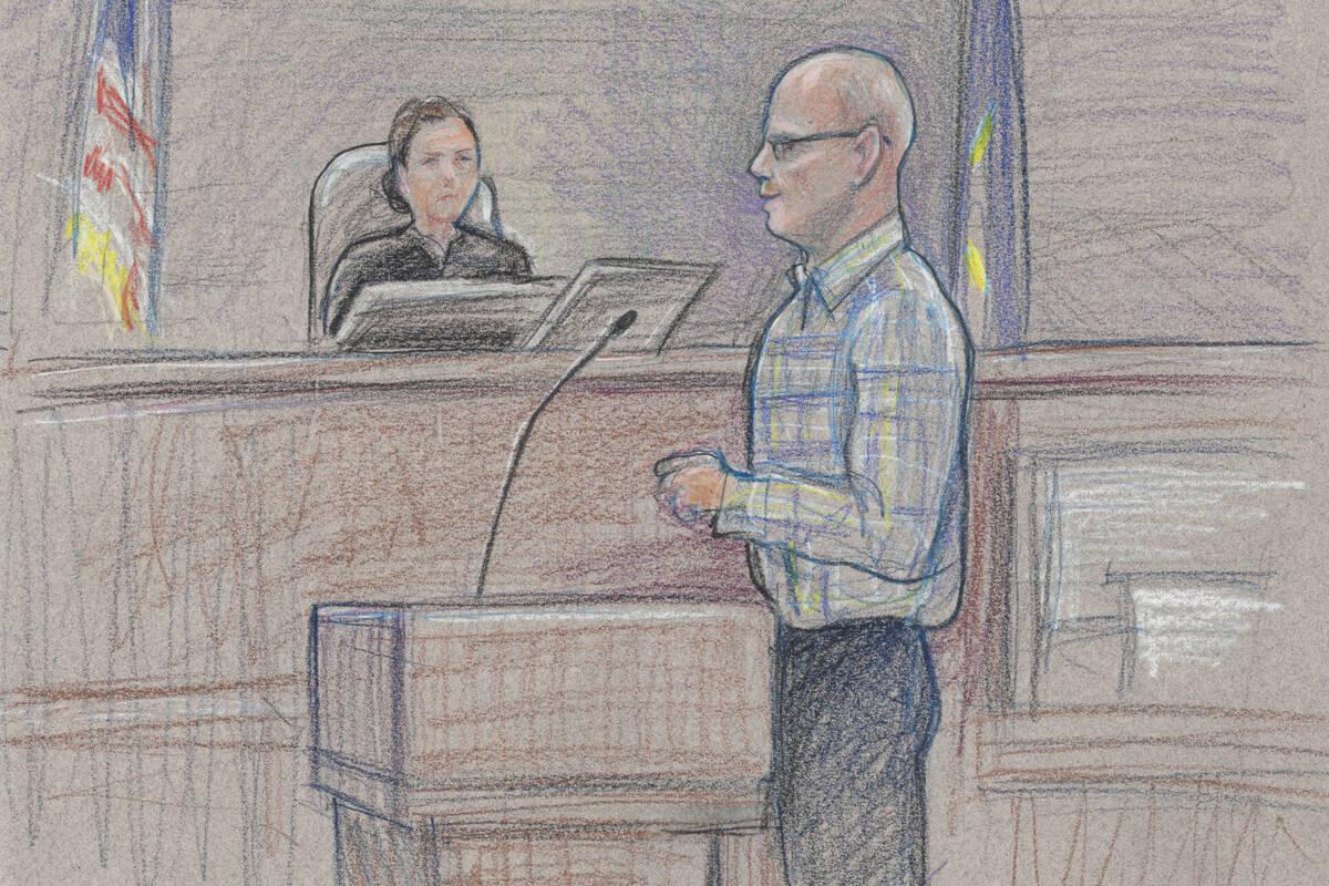 El acusado Todd Engel, que se representa a sí mismo, se enfrenta al jurado durante las declara ...