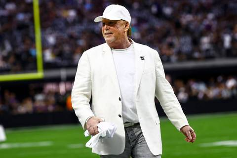 El propietario de los Raiders, Mark Davis, es visto en el Allegiant Stadium el lunes 13 de sept ...