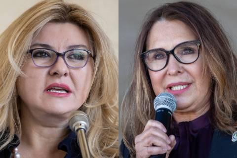 Las concejales de Las Vegas Michele Fiore, a la izquierda, y Victoria Seaman. Ambas han manteni ...