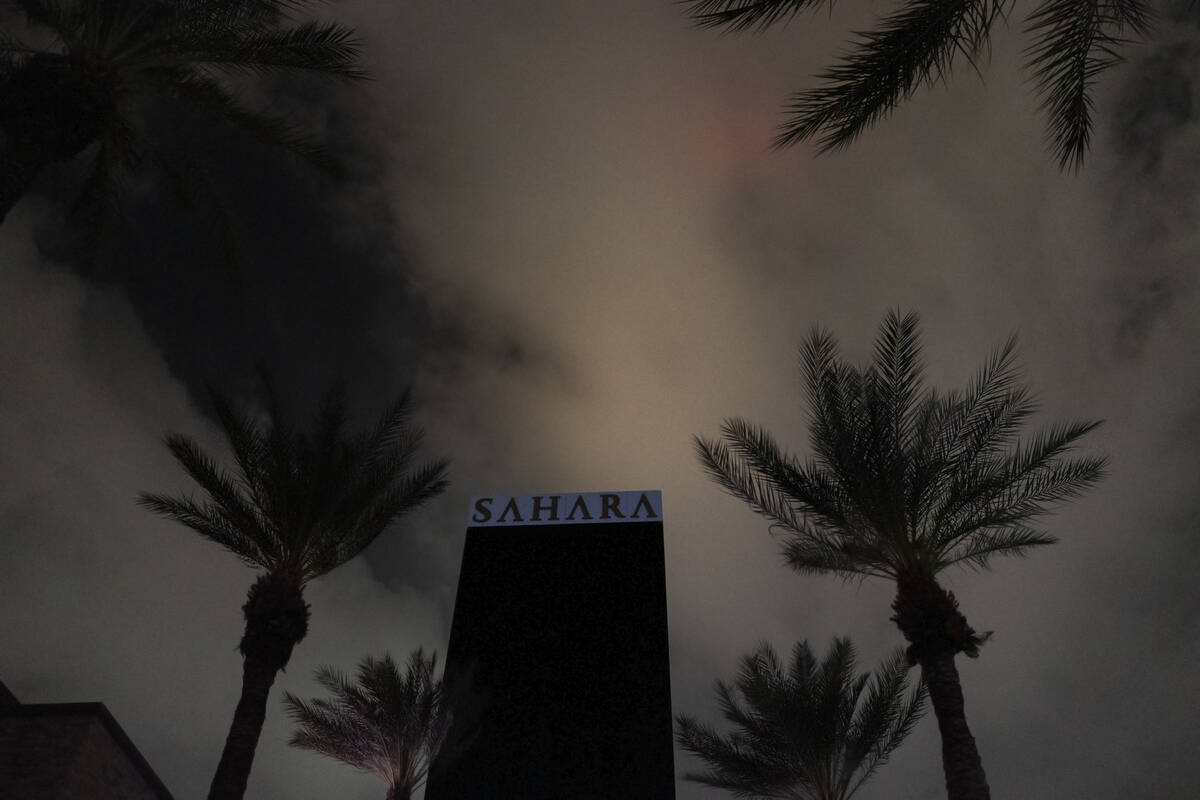 Sahara Las Vegas is largely dark during a partial power outage on Monday, Oct. 11, 2021, around ...