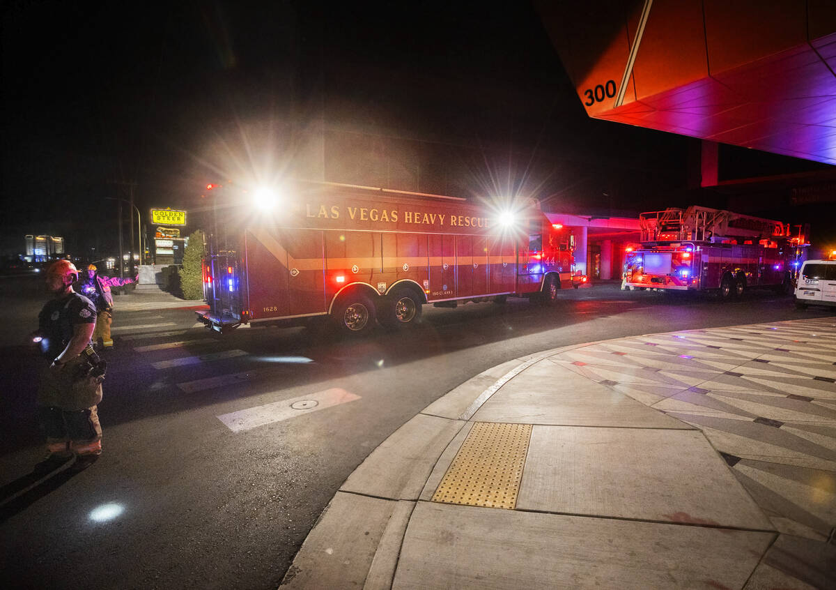 The Las Vegas Fire Department responds to reports of people trapped in an elevator during a pow ...