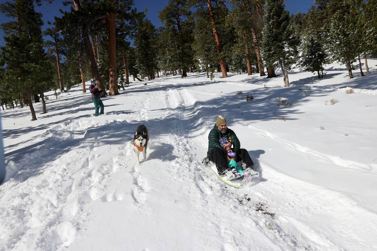 Rex Parker, his daughter Ava Parker, 2, and dog Luna sled in freshly fallen snow in Upper Lee M ...