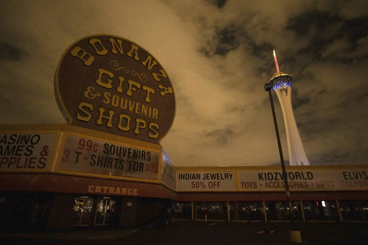 Bonanza Gift Shop is largely dark during a partial power outage on Monday, Oct. 11, 2021, in La ...