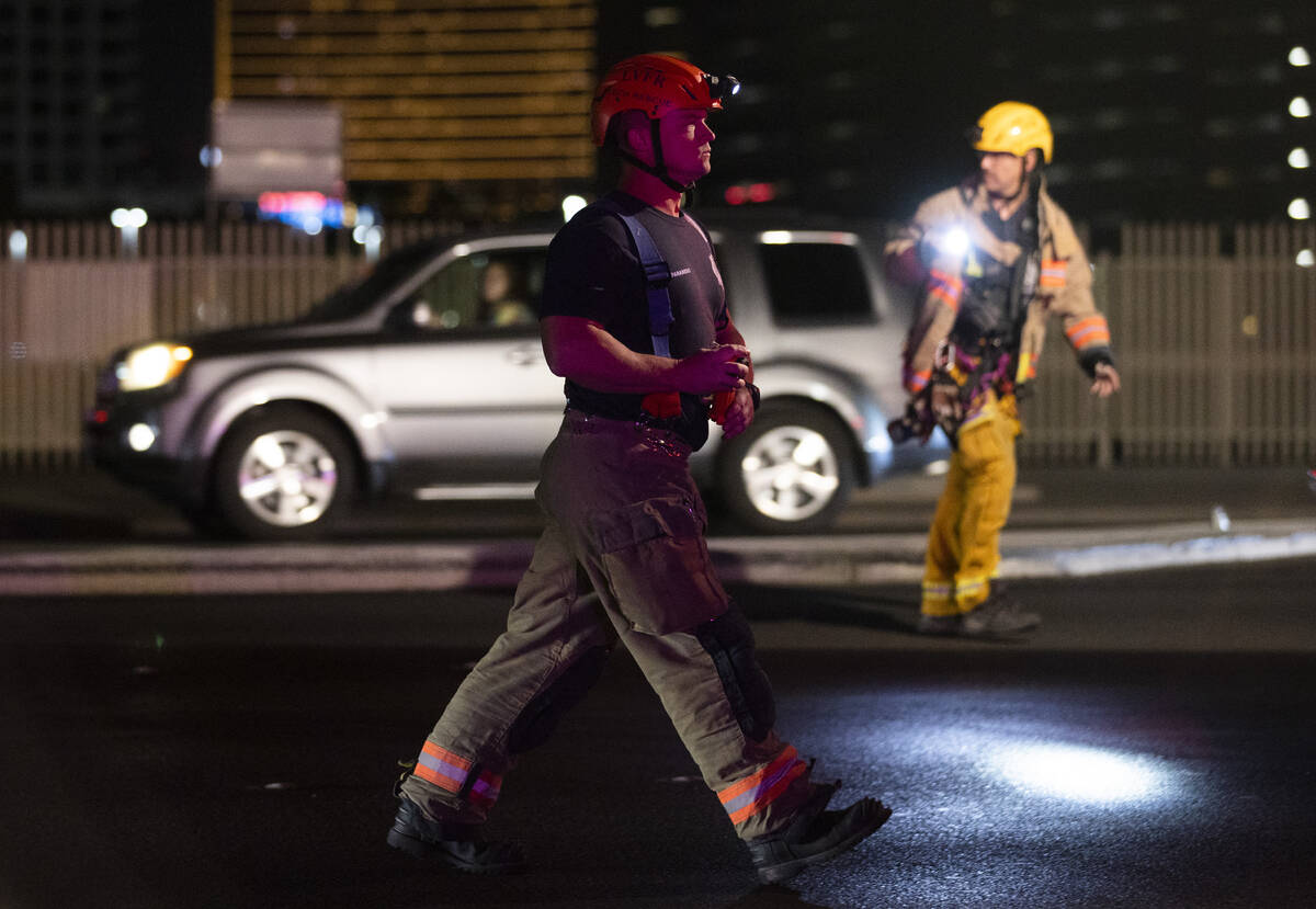 Las Vegas Fire & Rescue respond to people trapped in an elevator during a power outage near Wes ...