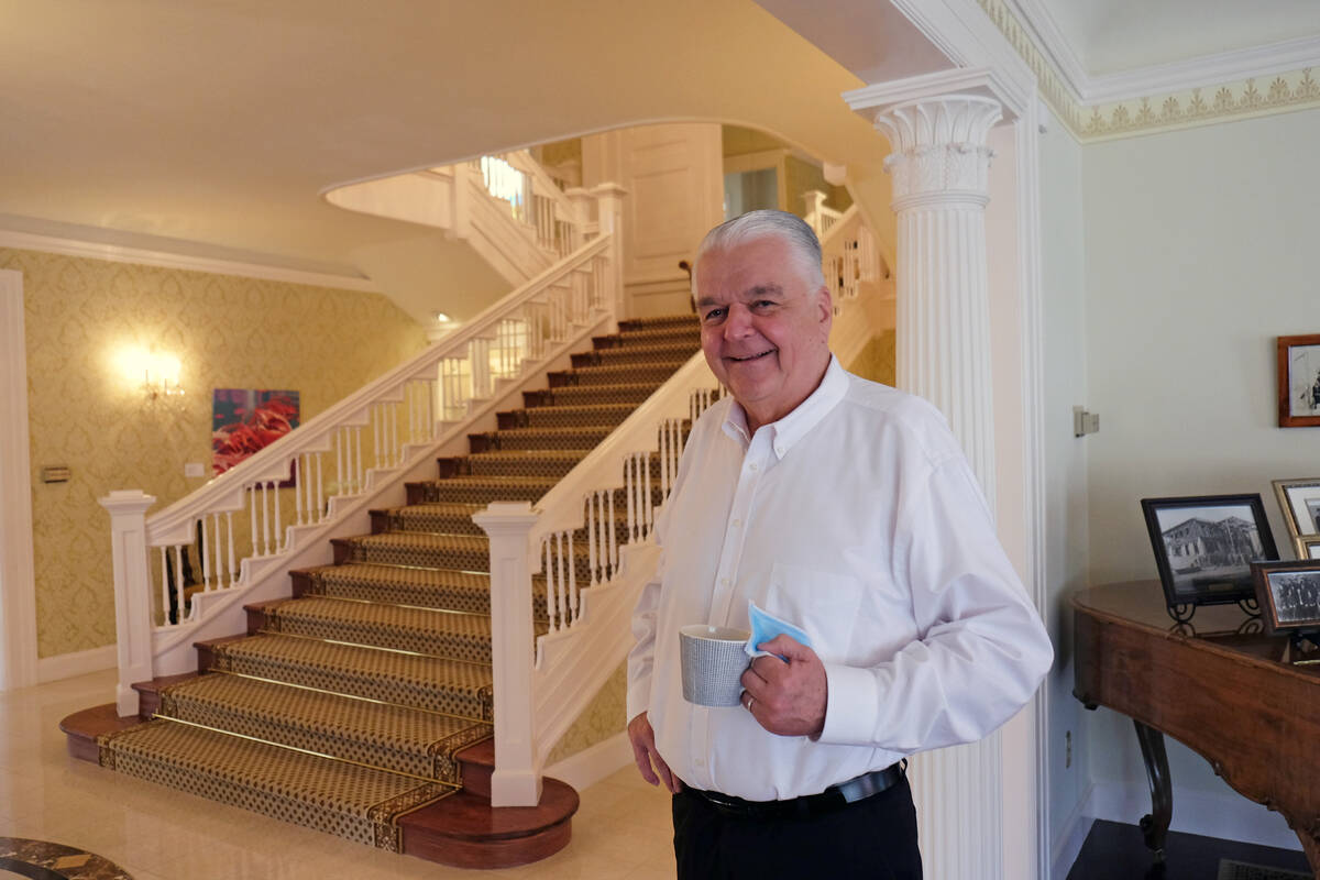 Nevada Gov. Steve Sisolak gave a reporter a tour of the governor's mansion in Carson City Wedne ...