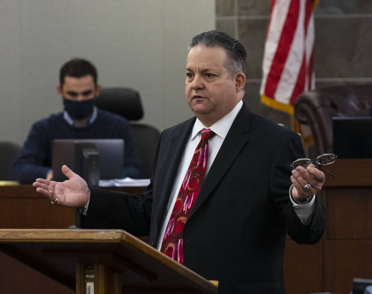 Public defender Clark Patrick delivers his closing arguments during Cortrayer Zone's, 38, and ...